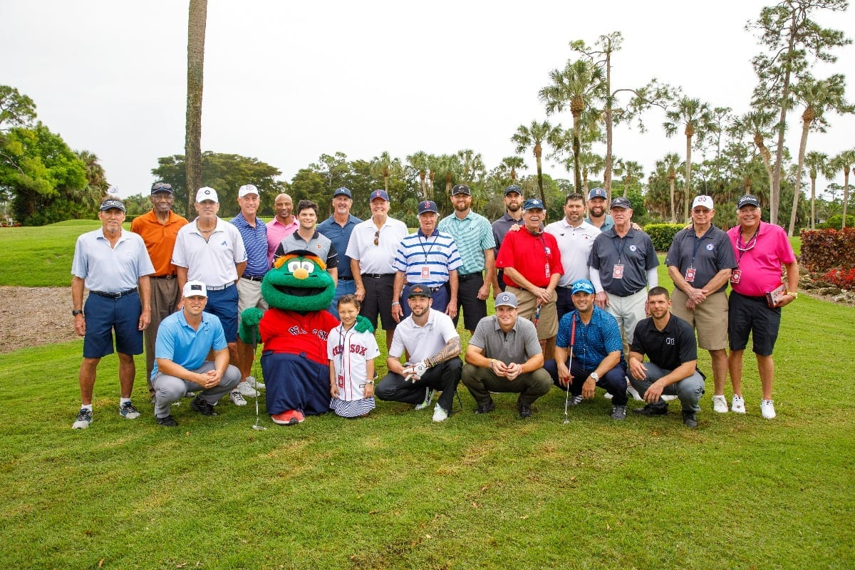 Group of men golfers at Kids' Minds Matter Boston Red Sox Celebrity Classic Event in 2019