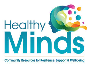 Healthy Minds Community Resources for Resilience, Support & Well-Being logo