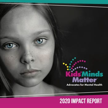 Kids' Minds Matter 2020 Impact Report Cover Image with pink and teal