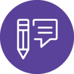 round purple shape with white pencil and blog icon